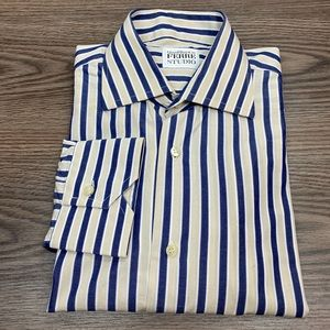 Gianfranco Ferre Tan & Navy Stripe Dress Shirt 16